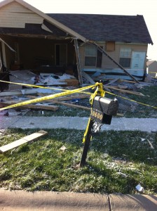 House hit by tornado, and mailbox